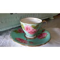 Taza De Cafe De Porcelana Inglesa Foley Acqua Rosa