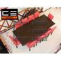 Juego Mesa Comedor Rectangular Xl 260x90+ 10 Sillas Ecocuero