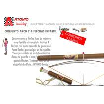 Arco Y Flecha De Madera Juguete Con 4 Flechas La Plata