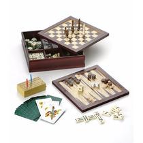 Juego En Caja De Madera 7 En 1 Ajedrez Backgamon Cartas