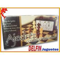 Ajedrez Juego Completo Con Reloj Profesional Fichas Madera