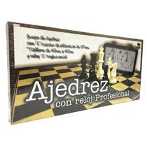 Juego De Ajedrez Piezas Plasticas Con Reloj Profesional