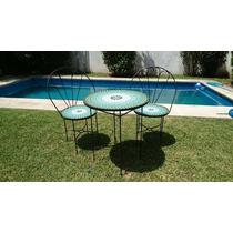 Juego Jardin Ext Mesa D=60cm Venecitas + 2 Sillones Deco