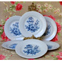 Juego 6 Platos Postre Porcelana Verbano Flores Azules