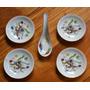 Juego De 4 Platos Y Cuchara Porcelana China