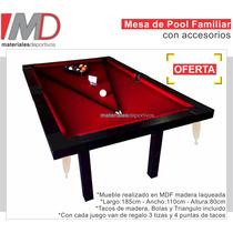 Mesa De Pool Semiprof. 185x110 M Mdf Laqueada - La Plata
