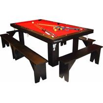 Mesa De Comedor 180 / Pool / Ping Pong + Bancos Yeerom®