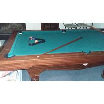 Mesa De Pool Usado Exc Estado Maciza, Con Bolas Y 4 Palos