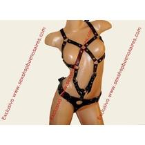 Sexshop - Body Ecocuero Negro Con Arnés