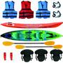 Kayak Atlantikayak Triplo Chaleco + Asientos + Remos Y Mas