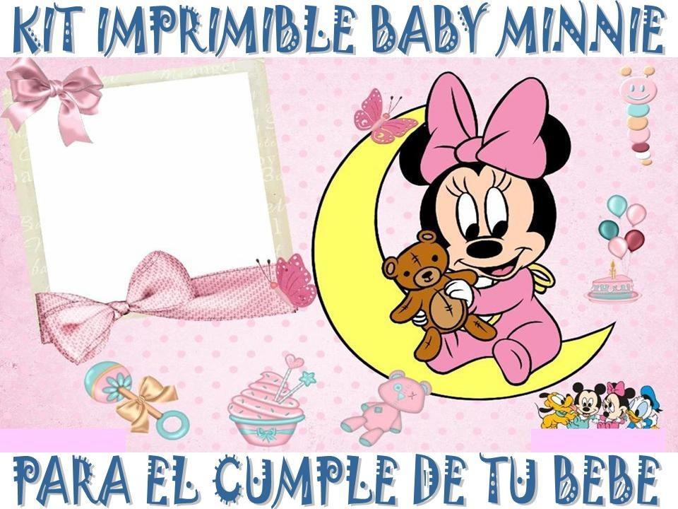 Kit Imprimible Baby Minnie Cumpleaños Tarjetas Invitaciones - $ 44 ...