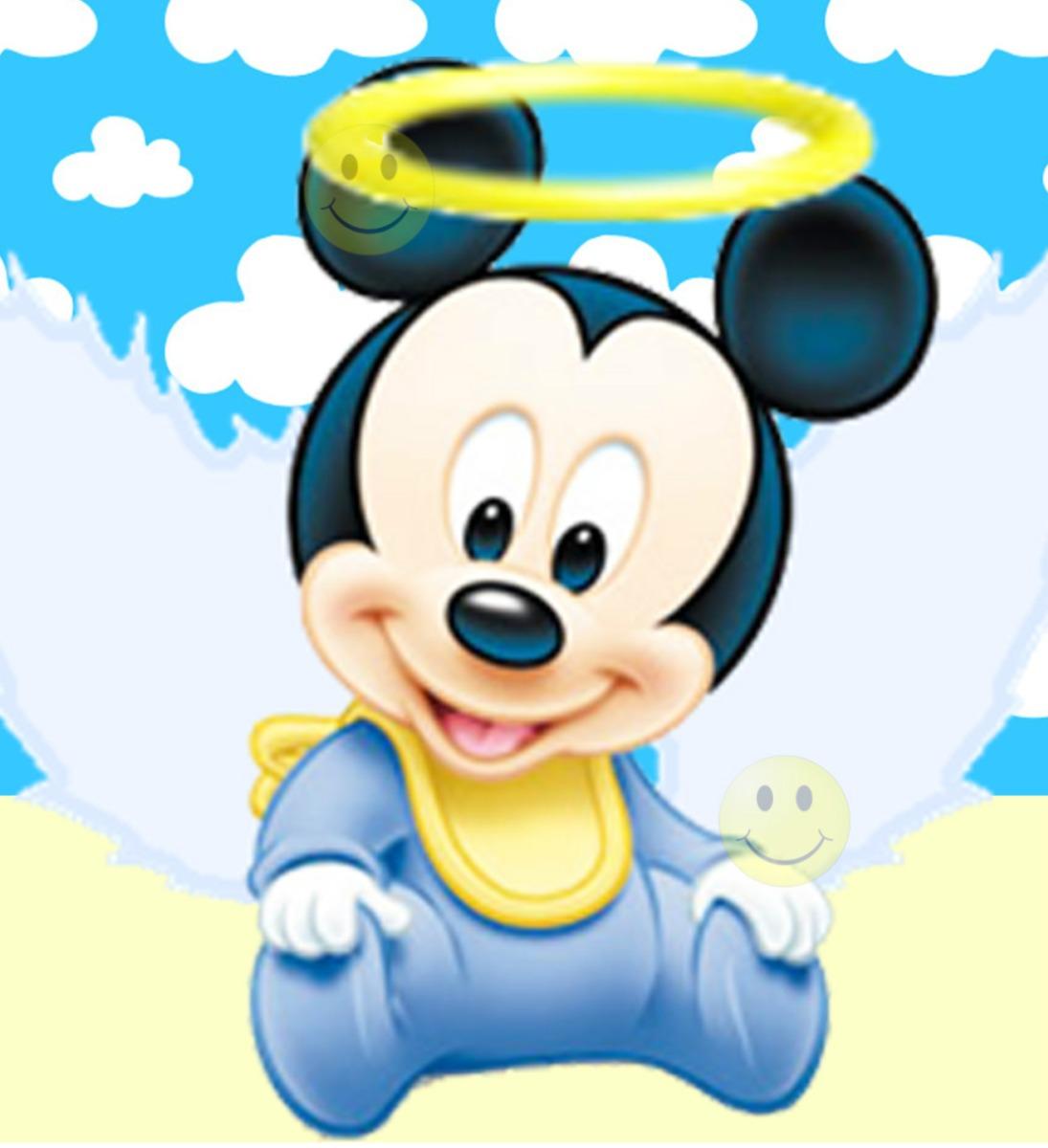 Kit Imprimible De Mickey Mouse Bebe -tarjetas Bautismo Y Mas ...
