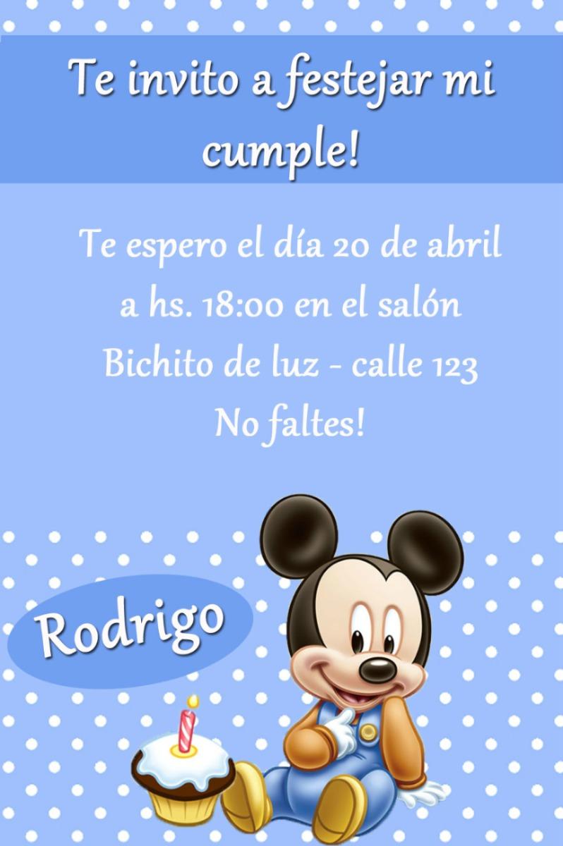Mickey Mouse bebé tarjetas de cumpleaños - Imagui
