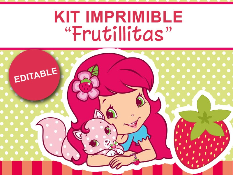 Kit Imprimible Editable Frutillitas, Candy Bar, Golosinas - $ 37 ...