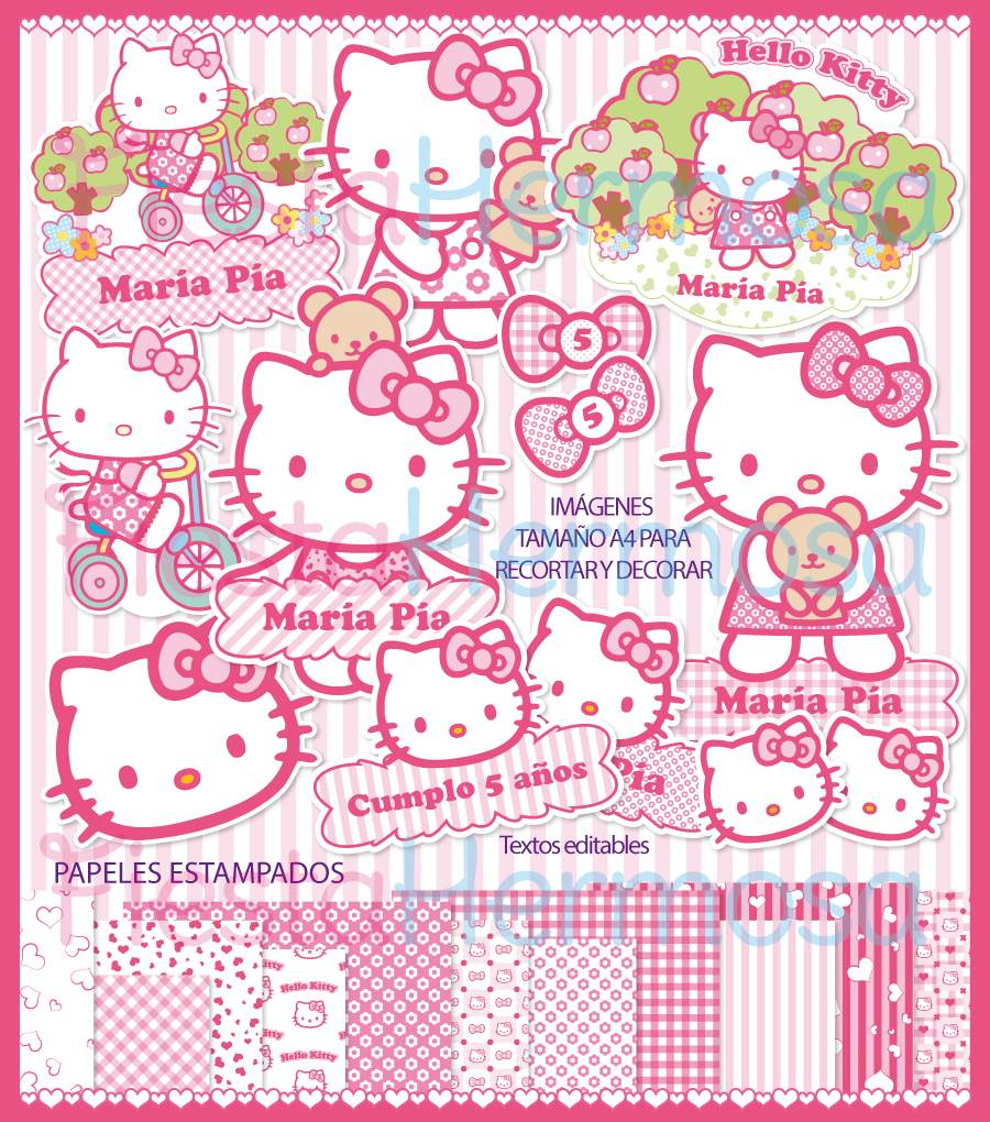 Kit imprimible hello kitty decoraciones candy bar cajitas - Decoraciones de bares ...