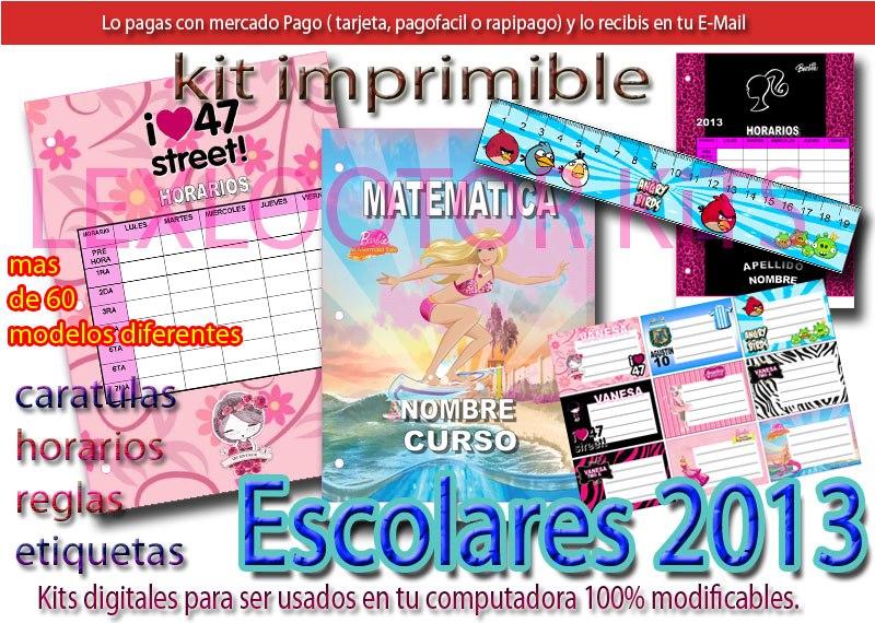 Kit Imprimible Utiles Escolares Caratulas, Etiquetas, Reglas ...