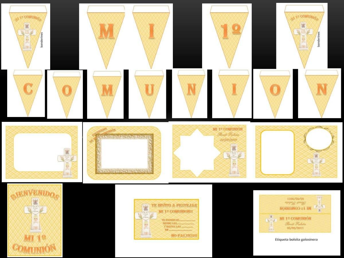 Kit Imprimible Y Modificable 100% Mi 1º Comunion Oro - $ 44,99 en