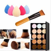 Paleta 15 Tonos De Bases + Brocha + Esponja Beauty Blender