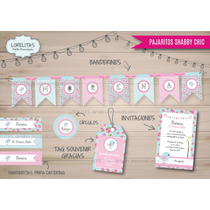 Kit Imprimible Personalizado Pajaritos Shabby Chic Candy Bar