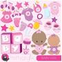 Kit Imprimible Baby Shower Nena 10 Imagenes Clipart