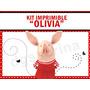 Kit Imprimible Olivia La Chanchita, Invitaciones Candybar