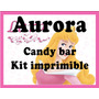 Candy Bar Kit Imprimible Princesas. Aurora. Envío Gratis.