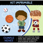 Kit Imprimible 2x1 Cumple Nenes, Tarjetas Mascaras Candybar