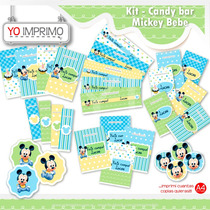 Candy Bar Mickey Bebe, Kit Imprimible, Fiestas, Cumpleaños