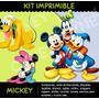 Kit Imprimible Mickey Disney 2x1 !! Cumple Tarjetas Candybar