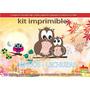 Kit Imprimible Candy Bar Buhos Lechuzas Tarjetas Cumple Y Ma