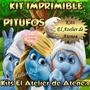 Kit Imprimible Los Pitufos - Invitaciones Y Mas