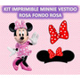 Kit Imprimible Minnie Vestido Rosa Fondo Rosa