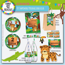 Kit Imprimible Cumpleaños Candy Bar Selva (animales)