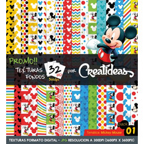 Kit Imprimible Promo 32 Fondos Hd Texturas Mickey Mouse Pk1