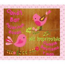Kit Imprimible 2x1 Candy Bar Pajaritos Nena Cumple Bautismo