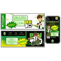 Kit Imprimible Ben 10: Invitaciones, Candy Bar, Deco, Torta