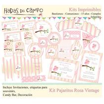 Kit Imprimible Pajaritos Rosa Deco Cumples Bautismo Comunion