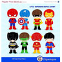 Kit Imprimible Chicos Superheroes 7 Imagenes Clipart