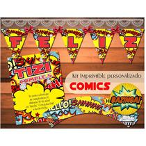 Kit Imprimible Personalizado Comics Marvel Candy Bar Cumple