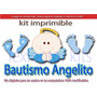Kit Imprimible Bautismo Angelito Huellitas Nene