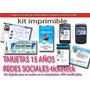 Kit Imprimible Tarjetas 15 Años Redes Sociales Y Tiketek