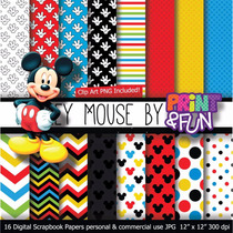 Kit Imprimible Pack Fondos Mickey Mouse 3 Clipart