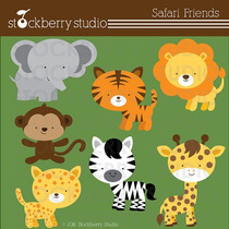 Kit Imprimible Animalitos Safari 5 Imagenes Clipart