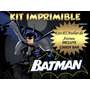 Kit Imprimible Batman Tarjetas Golosinas Banderin - Editable
