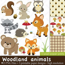 Kit Imprimible Animales Del Bosque 3 Imagenes Clipart