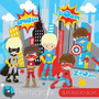 Kit Imprimible Chicos Superheroes 18 Imagenes Clipart