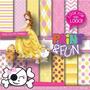 Kit Imprimible Pack Fondos Princesa Bella Durmiente Clipart