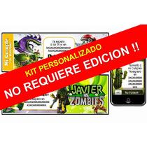 Kit Imprimible De Plantas Vs Zombies 100% Personalizado