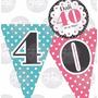 Kit Imprimible Cumpleaños 40 Años Candy Bar Invitacion Rosa