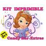 Kit Imprimible Candy Bar Princesa Sofia +regalos+ 2x1